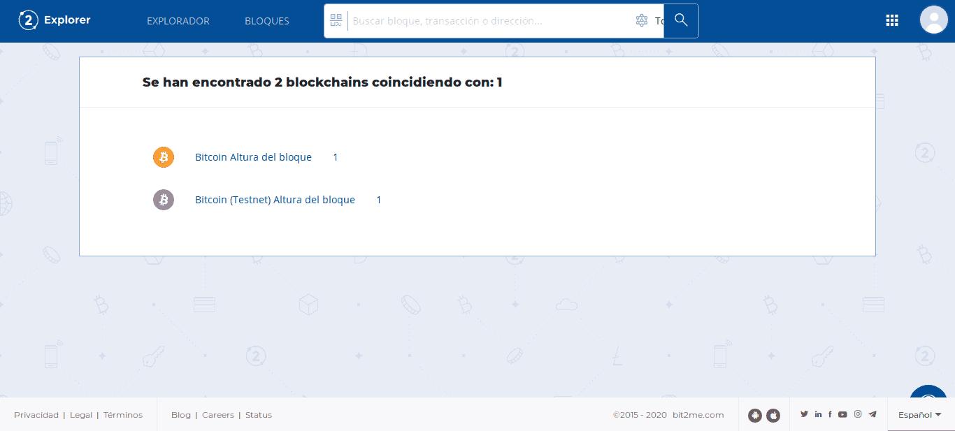 Buscando información en Bit2Me Explorer