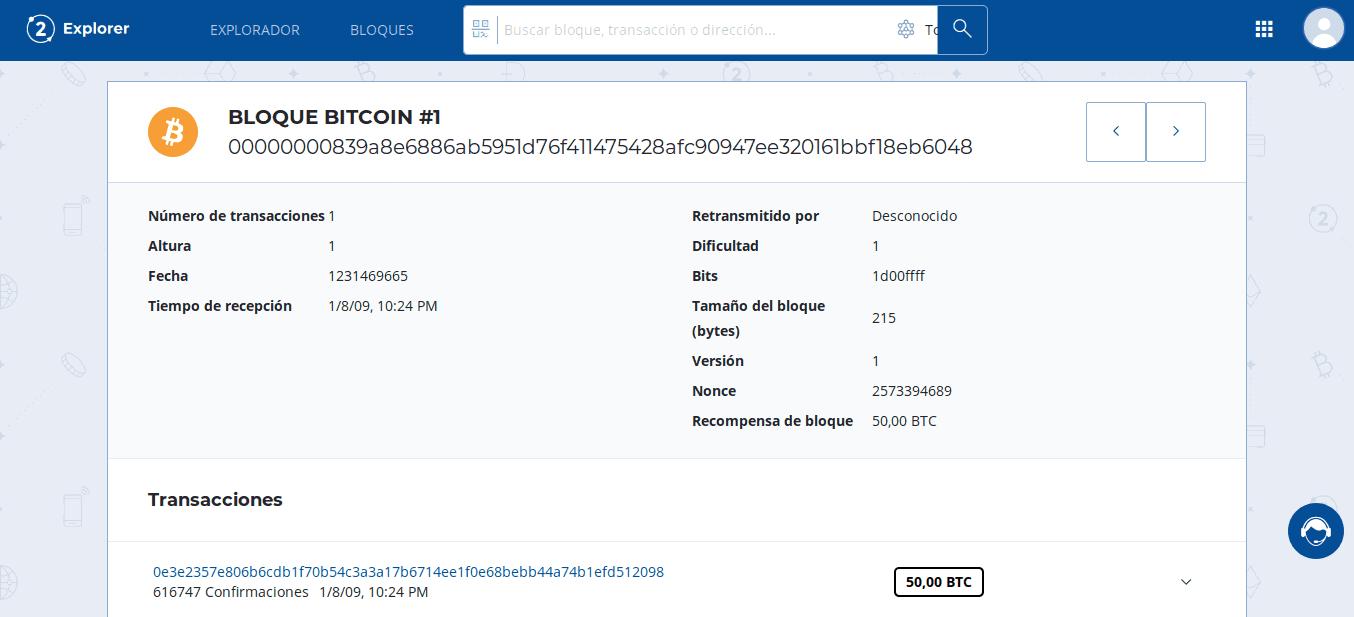 First Bitcoin (BTC) block in Bit2Me Explorer