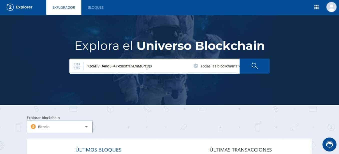 Revisando dirección de Bitcoin desde Bit2Me Explorer