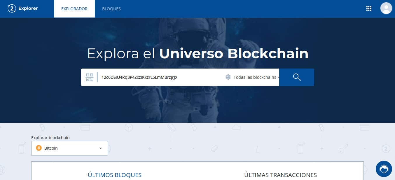 Checking Bitcoin address from Bit2Me Explorer