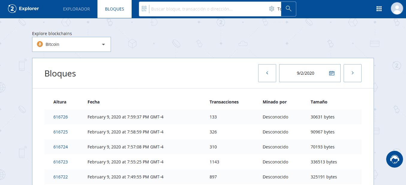 Observando todos los bloques desde Bit2Me Explorer