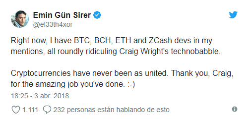 Emir Gün Siren clearly says that Craig Wirght is not Satoshi Nakamoto