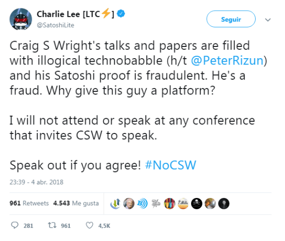 Charlie Lee on the possibility of Craig S. Wright being Satoshi Nakamoto