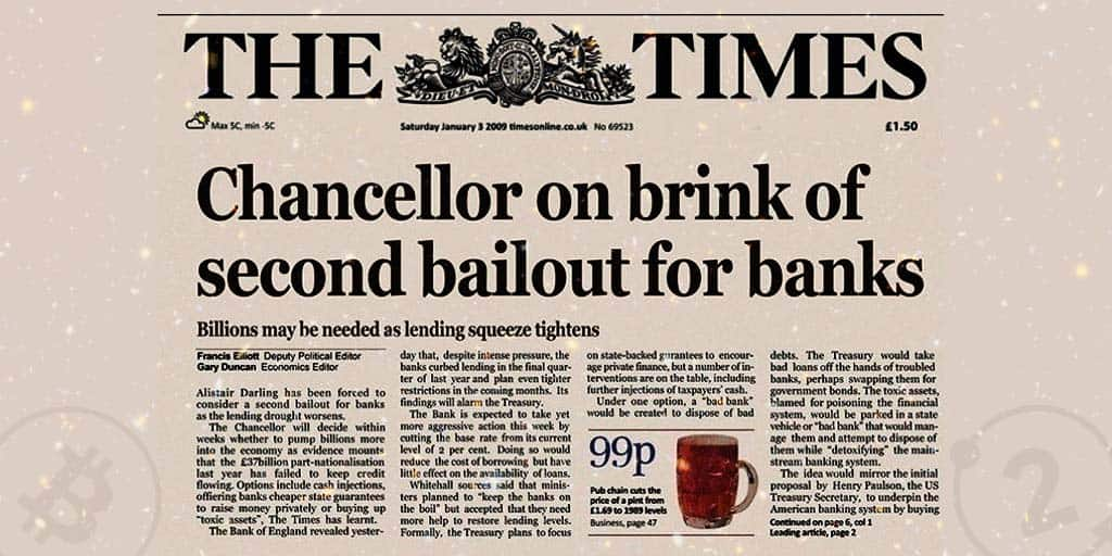 The times headline that appears in the bitcoin genesis block