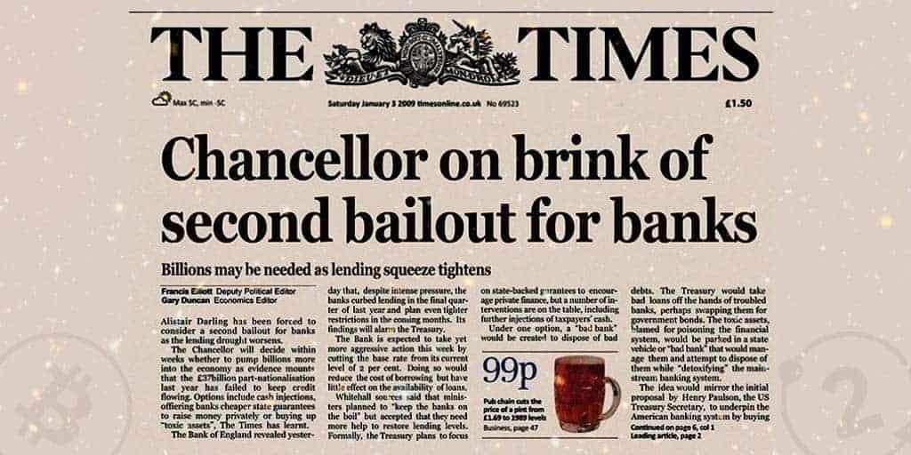 Il titolo del Times appariva sul blocco genesis di bitcoin