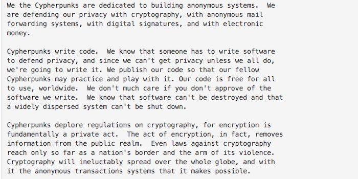 Cypherpunk escreve código Eric Hughes