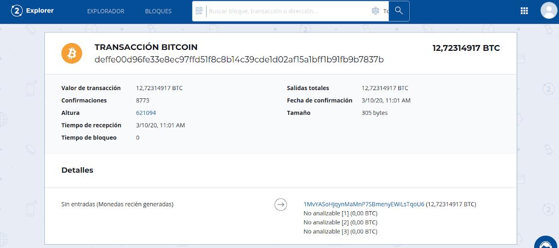 Información y contenido de un transacción coinbase en Bitcoin
