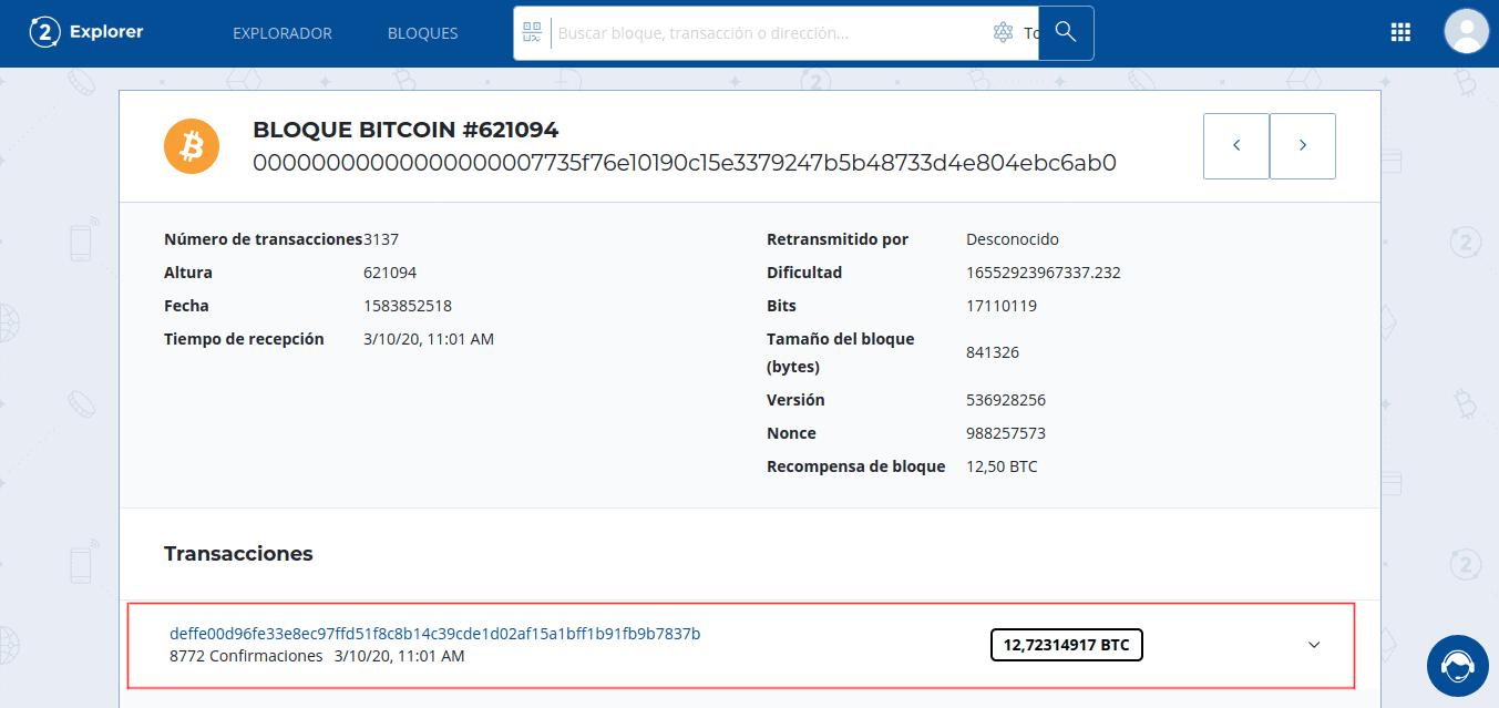 Transacción Coinbase dentro de un bloque de Bitcoin