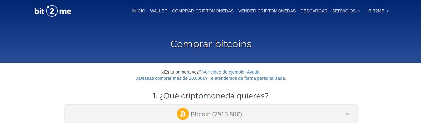 Empezar a comprar bitcoin o BTC en Bit2Me