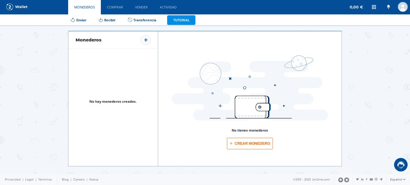 Interfaz de Bit2Me Wallet