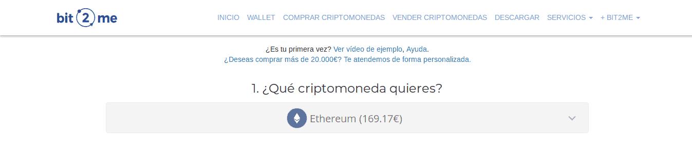 Compra de Ethereum en Bit2Me