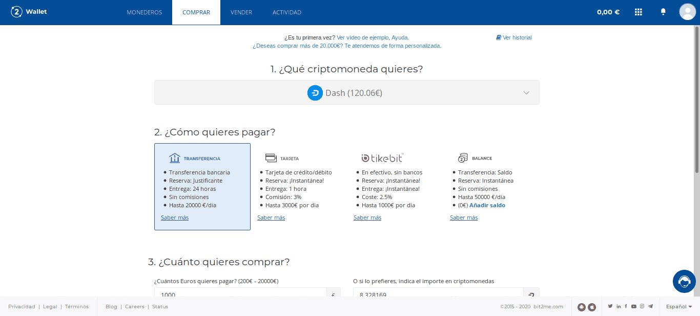Comprar DASH desde Bit2Me Wallet