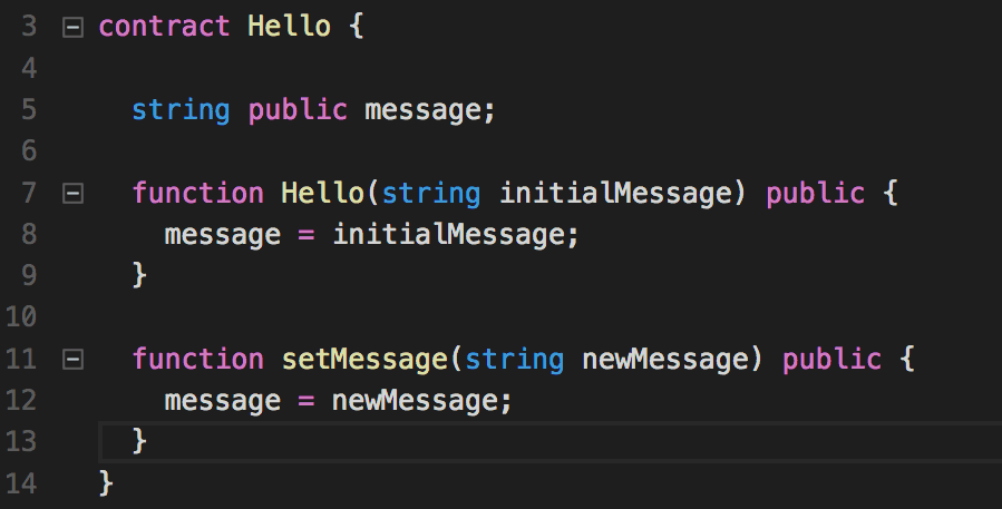 A simple example of Solidity one of the languages used to program for EVM