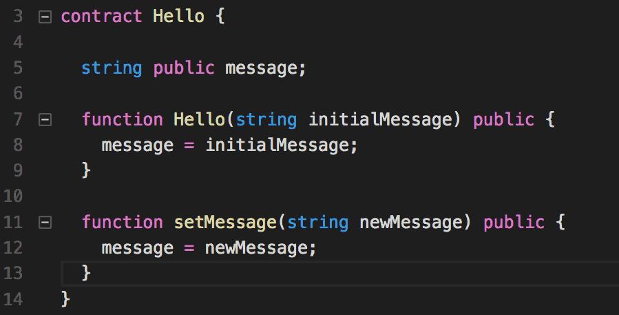 Un sencillo ejemplo de Solidity uno de los lenguajes usados para programar para la EVM