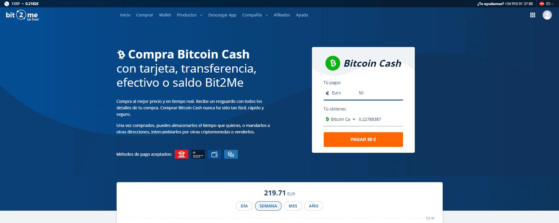 Indicando Bitcoin Cash a comprar en Bit2Me