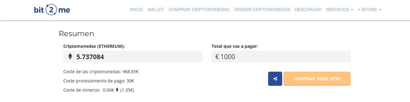 Resumen de compra de Ethereum