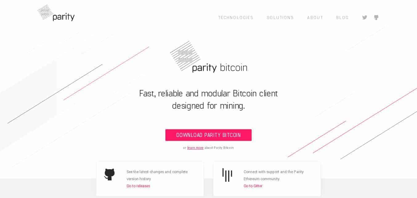 Site Parity Bitcoin Client, uma carteira completa feita pela equipe Parity