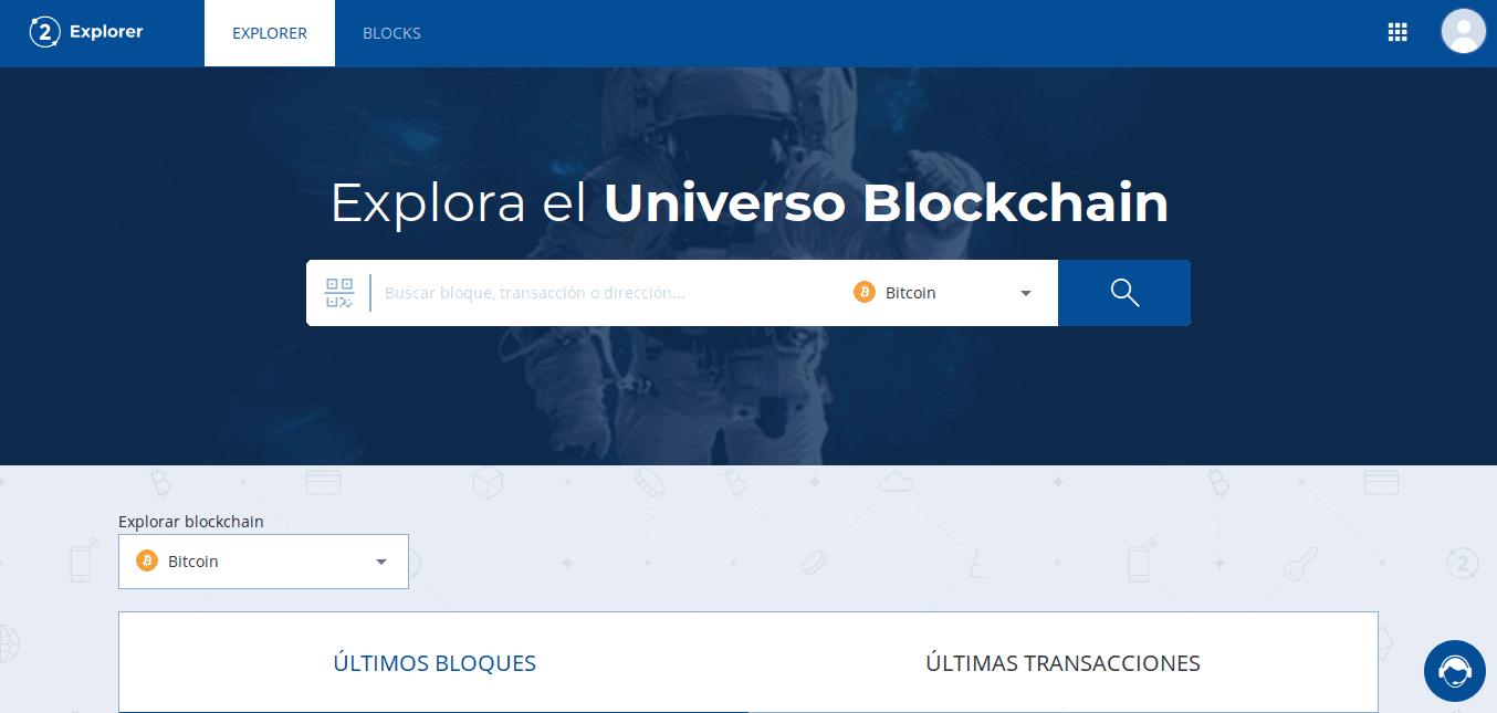 Página principal del Bit2Me Explorer