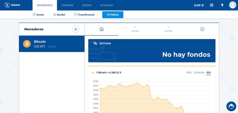 Página principal de Bit2Me Wallet
