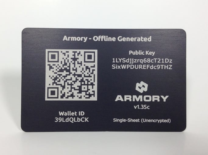 A bitcoin paper wallet made of steel