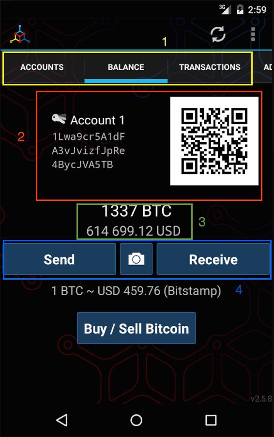 mycelium configuración carteras bitcoin