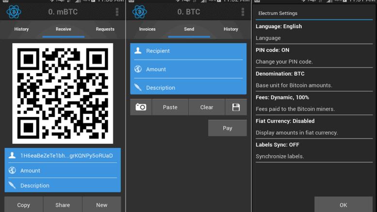 Electrum wallet en la plataforma Android