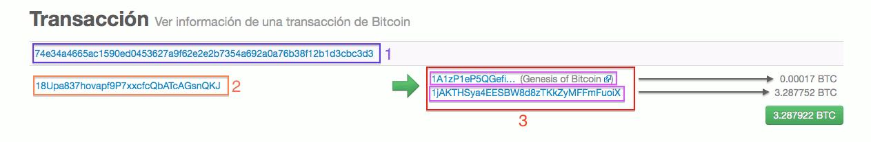 información transacción blockchain