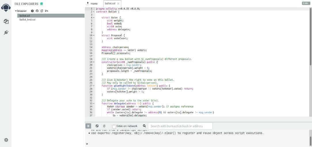 Remix IDE de Ethereum