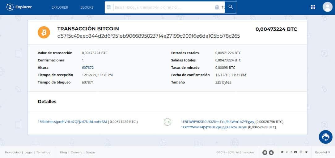 Transacción bitcoin mostrando una dirección de cambio