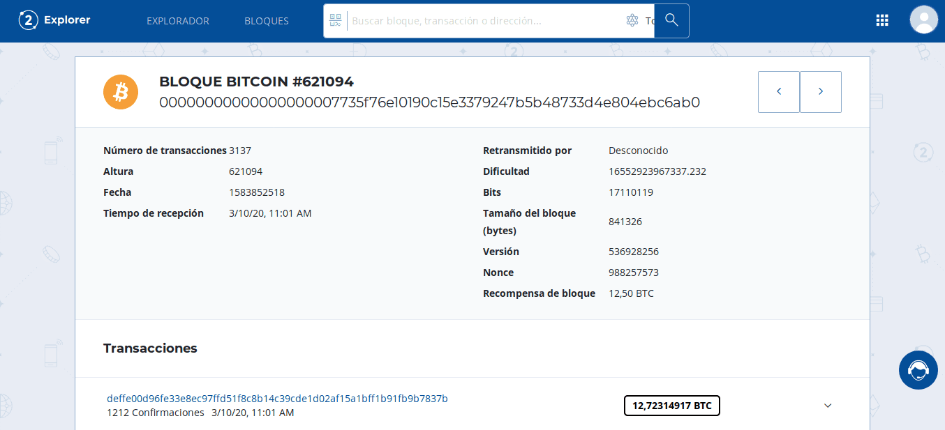 Fee de un bloque en Bit2Me Explorer