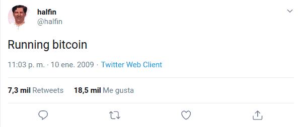 Running Bitcoin de Hal Finney en Twitter